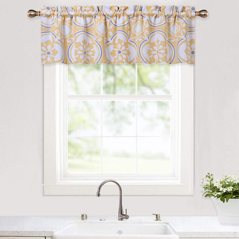 "Haperlare Floral Blackout Valance for Bathroom, Medallion PatternValance Curtains for Windows, Thick Damask Design Rod Pocket Farmhouse Kitchen Valance Curtain Cafe Curtains, 52"" x 15"", Yellow/Grey"
