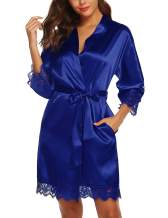 URRU Women's Satin Silk Bathrobe Oblique V-Neck Short Kimono Robe Bridesmaids Robe S-XXXL