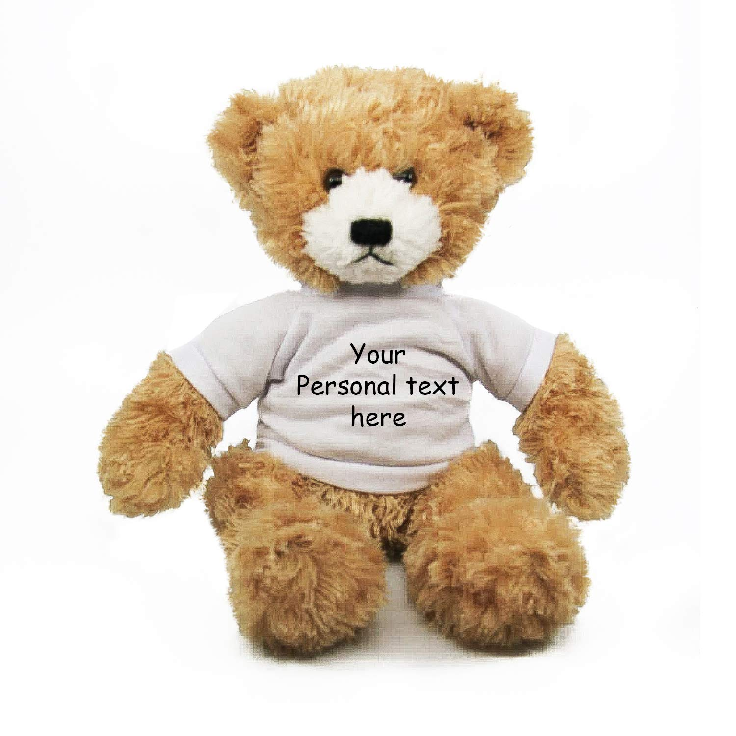 Plushland Beige Brandon Teddy Bear 12 Inch, Stuffed Animal Personalized Gift - Custom Text on Shirt- Great Present for Mothers Day, Valentine Day, Graduation Day, Birthday (White Shirt)