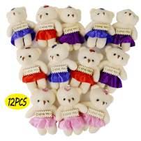HAPTIME 12 Pcs Mini Teddy Bears Plush Toys for Kids, 1 Dozen Stuffed Animals Doll Bulk for Wedding Decorations, Party Favors, Baby Shower, Stocking Stuffers (4 Colours) (12 pcs Love Bears)