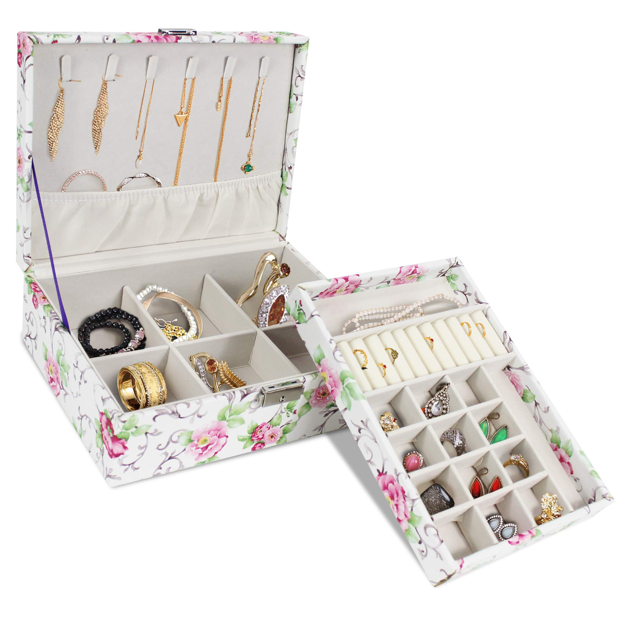 Double Layer Jewelry Box, Multi Compartments Jewelry Organizer ~ Necklaces, Bracelets, Earrings and Rings Holder Tray for Women (Floral)