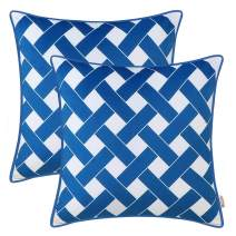 BRAWARM Pack of 2 Cozy Corded Throw Pillow Covers Cases for Couch Sofa Bed Home Decor Modern Weave Striped Geometric Both Sides 18 X 18 Inches Seaport Blue