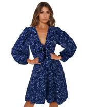 LANISEN Womens Casual Polka Dot Self Tie Knot Front V Neck Long Sleeve Ruffles Loose Swing Party Midi Dress