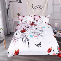 Sleepwish Butterfly Dream Catcher Bedding Set 3 Piece Dreamcatcher Feathers Flowers Art Duvet Cover Girls Boho Watercolor Hippie Bedding (Full)