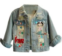 EGELEXY Little Girls Lovely Denim Coat Cartoon Pattern Sequins Jacket Outerwear