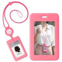 Bone Pink Lanyard with ID Holder, Lanyard RFID Blocking Badge Holder, Adjustable Breakaway Silicone Neck Lanyard Strap and ID Card Badge Holder, Anti-Interference Double-Sided Induction- Pink