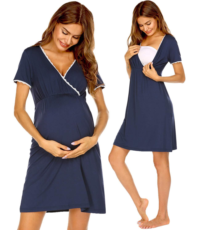 Ekouaer Women 3 in 1 Delivery/Labor/Maternity/Nursing Nightgown Short Sleeve Pleated Breastfeeding Sleep Dress(S-XXL)