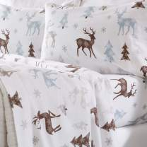 Home Fashion Designs Flannel Sheets Twin Winter Bed Sheets Flannel Sheet Set Snowy Reindeer Flannel Sheets 100% Turkish Cotton Flannel Sheet Set. Stratton Collection (Twin, Snowy Reindeer)