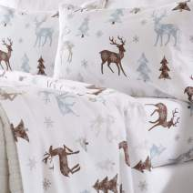Home Fashion Designs Flannel Sheets Full Winter Bed Sheets Flannel Sheet Set Snowy Reindeer Flannel Sheets 100% Turkish Cotton Flannel Sheet Set. Stratton Collection (Full, Snowy Reindeer)