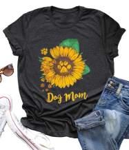 Dog Mom Shirt Tees for Women Letter Print Dog Lover Tees Sunflower Casual Short Sleeve Mom Gift Tops
