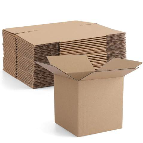 """Euapko 4x4x4"""" Cardboard Box Mailers 25 Pack Brown Cube Corrugated Small Shipping Boxes for Mailing"""