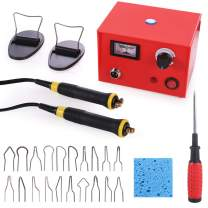 Wood Burning Kit 110V 50W Crafts Gourd Wood Burning Tools Multifunction Pyrography Machine Heating Kit Single Port Wood Burner Tool with 2 Burning Pens 20 Tips Pointer Display Temperature Control Red