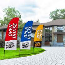 QSUM Open House Swooper Flag and Pole Kit,Real Estate Signs Advertising Feather Flag for House Agent Sale (Red)