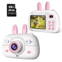 A-TION Kid Cameras, Digital Photo and Video Record, Dual 8MP Camera, 2.4 inch Screen, 32GB SD Card, Tiny Gift Camera for Children Aged 2-12, Pink