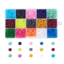 Pandahall 1Box/1500pcs 15 Color 4mm Jewelry Glass Beads Transparent Glass Round Beads Frosted Dyed Mixed Color Hole: 1.3-1.6mm
