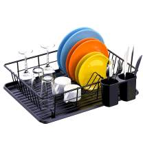Dish Drying Rack, Packism Dish Rack with Drain Board, Utensil Holder, Anti Rust Dish Drainer for Kitchen Counter Top Dish Rack Wire Holder, Black, 16.5 x 12.4 x 4.3 inch