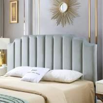 24KF Velvet Upholstered Tufted King headboard with Vertical Channel Design King/California King headboard-Gray