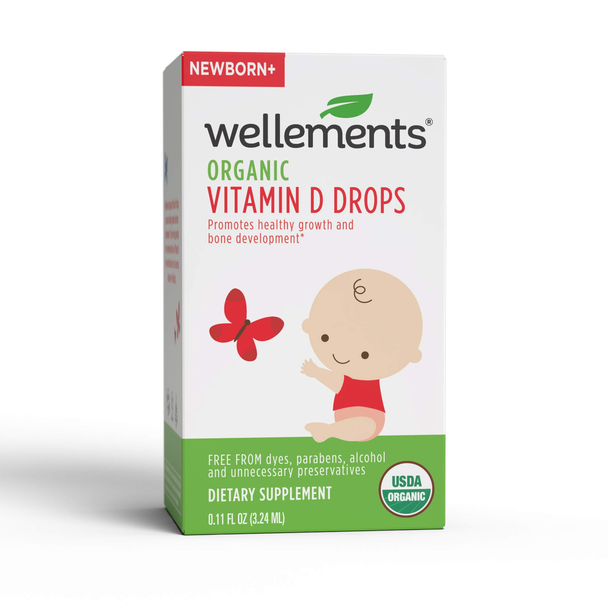 Wellements Organic Vitamin D Drops, 0.15 Fl Oz, Baby Liquid Vitamin Supplement for Infants and Toddlers, Free from Dyes, Parabens, Preservatives