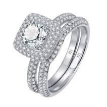 SHELOVES 3Ct Cushion Cut Cubic Zirconia CZ Wedding Engagement Ring Sets Sterling Silver Bridal Set