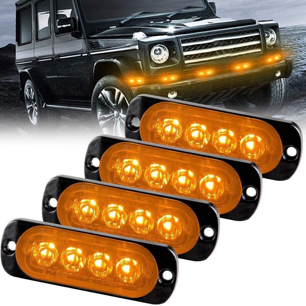 Amber Ultra Slim 6 LED Strobe Light 12V-24V Super Bright Surface Mount Emergency Beacon Warning Hazard Flash Strobe Light Bar for Car Truck 4PCS