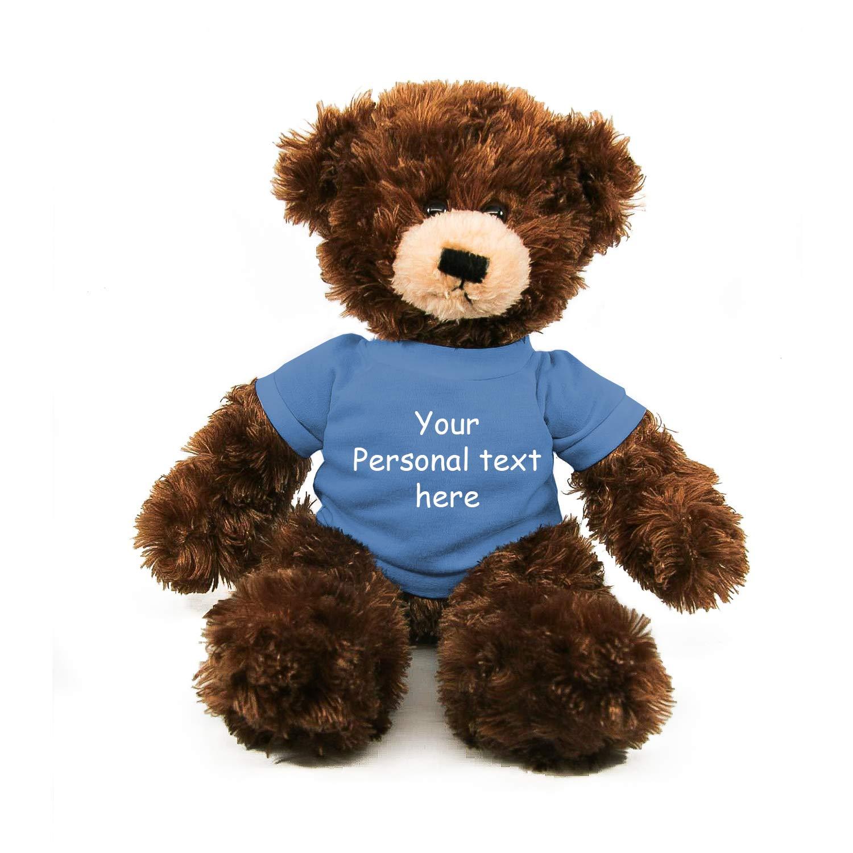 Plushland Chocolate Brandon Teddy Bear 12 Inch, Stuffed Animal Personalized Gift - Custom Text on - Great Present for Mothers Day, Valentine Day, Graduation Day, Birthday (Powder Blue Shirt)