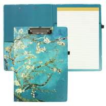 """QIELIZI Hardcover Clipboard Folio with Refillable Lined Notepad and Interior Storage Pocket for Women,Size 9.25"""" x 12.8""""(1 Pack,1-Peach Blossom)"""