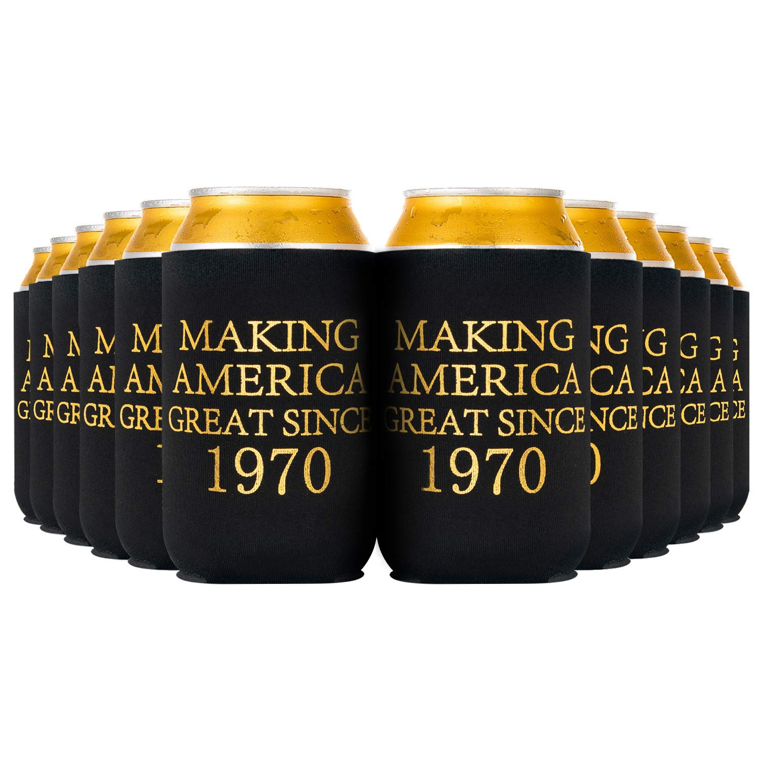 Crisky 50th Birthday Beer Sleeve, 50th Birthday Can Cooler Insulated Covers, 50th Birthday Decorations Black Gold Making America Great Since 1970, Neoprene Coolers for Soda, Beer, Can Beverage, 12 Pcs