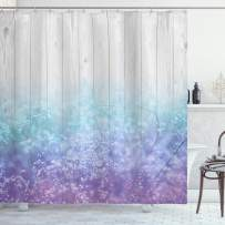 """Ambesonne Garden Shower Curtain, Dreamy Abstract Garden Perennial Petals Branches in Pastel Colors Artwork Print, Cloth Fabric Bathroom Decor Set with Hooks, 75"""" Long, Lavender Blue"""