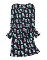 FEOYA Women's Cotton Nightgown Long Sleeve Print Sleepwear Casual Sleepshirt