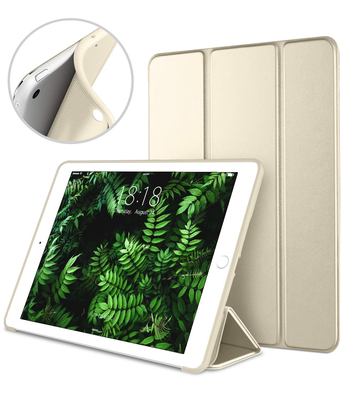 DTTO Mini Case for iPad Mini 3/2/1, (Not Compatible with Mini 5th Generation 2019) Ultra Slim Lightweight Smart Case Trifold Cover Stand with Flexible Soft TPU Back Cover [Auto Sleep/Wake],Gold