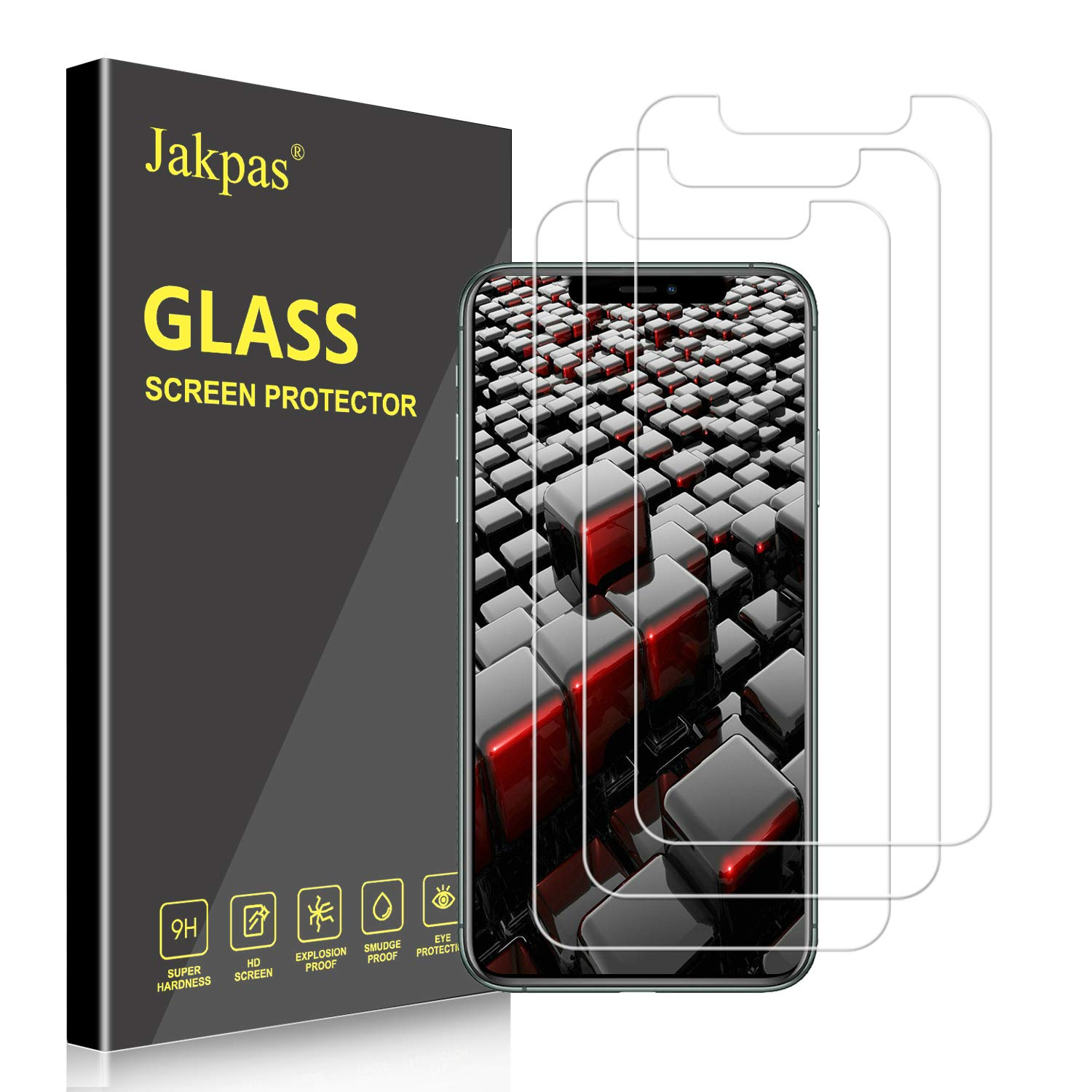 Jakpas Screen Protector for iPhone 11 Pro Max (6.5''),iPhone Xs Max (6.5 inch),[3 Pack] Tempered Glass Screen Protector [Bubble Free] [Anti-Scratch] [High Responsive] Work Most Case for iPhone Xs Max