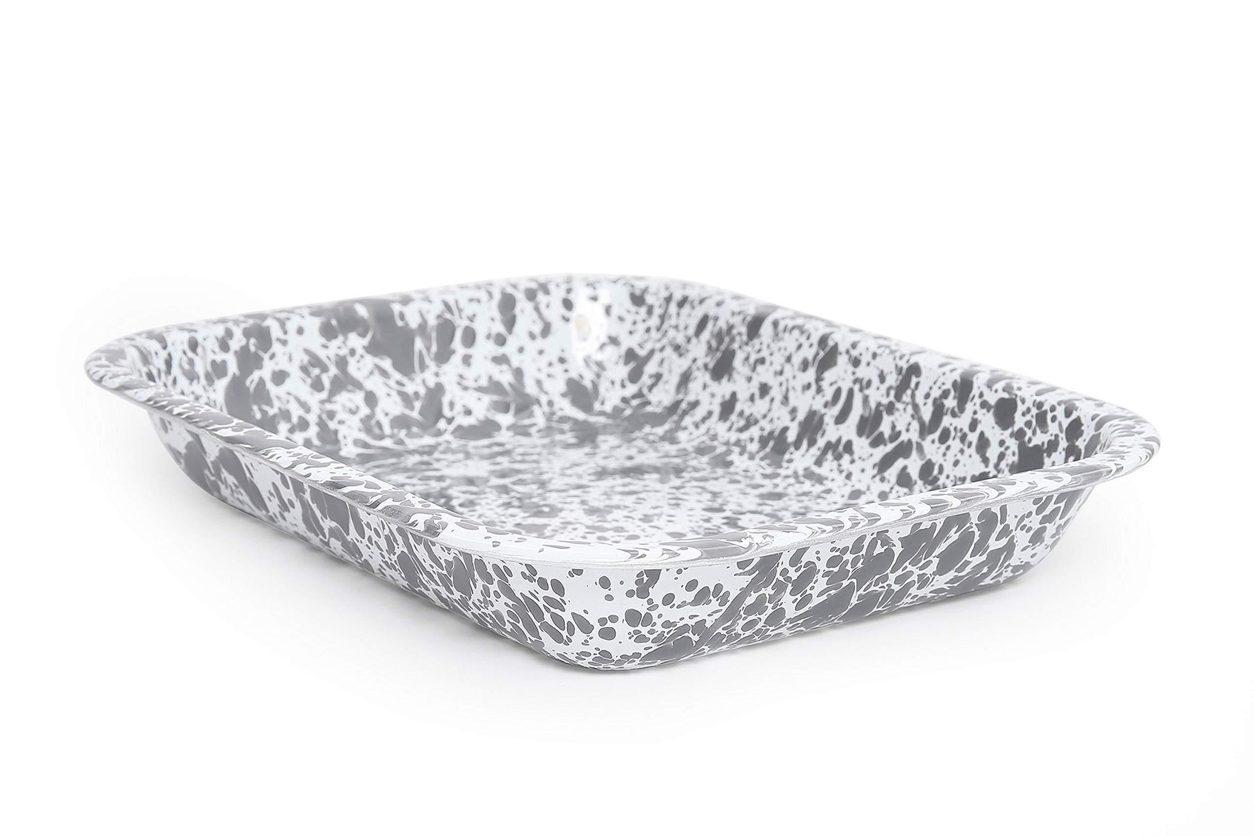 Enamelware Open Roaster, 10.5 x 8 inches, Grey/White Splatter (Single)