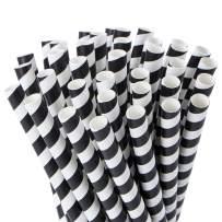Webake Smoothie Straws Biodegradable 0.4 Inch Wide Paper Straws, Bulk 100 Pack Black Halloween Striped Jumbo Drinking Straws, Great Alternative to Plastic Straws for Smoothies, Bubble Tea, Milkshake
