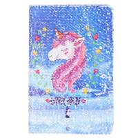 Unicorn Notebook,New A5 Notebook Color Reversible Sequin Unicorn Diary Notebook Magic Sequin Journal Rainbow Notebook DIY Painting Magic Daily Journal Notebook for Kids (Blue)
