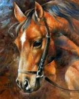 EOBROMD 5D Diamond Painting Kit, Full Drill Embroidery Paint with Diamonds Wall Sticker for Home Decor - Brown Horse 12 x 16inch