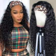 Headband Wigs Human Hair For Black Women Water Wave Human Hair Wigs Glueless None Lace Front Wigs 28 Inch with Headband 150% Density Wet And Wavy Half Wigs with Headband Natural Color