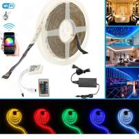 LED Light Strips Waterproof WiFi Wireless Smart Phone Control Alexa Light Strip Kit, 4 in 1 RGBW strip light 5050 16.4ft 300 pcs LEDs for Bedroom, Stair, Window and Ceiling