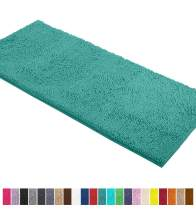 LuxUrux Bath Mat-Extra-Soft Plush Bath Shower Bathroom Rug,1'' Chenille Microfiber Material, Super Absorbent Shaggy Bath Rug. Machine Wash & Dry (21 x 59 Inch, Turquoise)