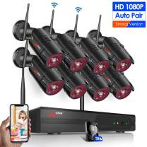Wireless Surveillance Camera System, ANRAN 8CH 1080P Surveillance Video Security System with 2TB HDD, 8pcs 2MP Outdoor/Indoor Home Video Security Cameras with Night Vision, Motion Alert, Remote View