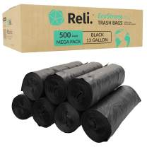 Reli. EcoStrong 13 Gallon Trash Bags (500 Count Bulk) Eco-Friendly Recyclable - Black Garbage Bags 13 Gallon - 16 Gallon Capacity, Made of Recycled Material