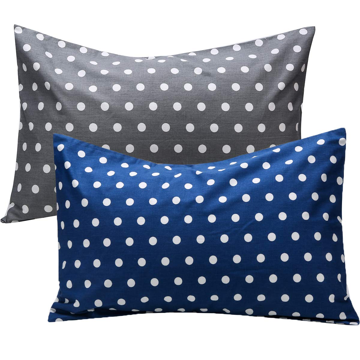 UOMNY Kids Toddler Pillowcases 2 Pack 100% Cotton Pillow Cover Pillowslip Case Fits Pillows sizesd 13 x 18 or 12x 16 for Kids Bedding Pillow Cover Baby Pillow Cases Point Kids' Pillowcases Grey/Blue