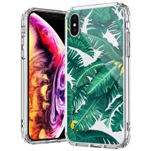 MOSNOVO Tropical Banana Leaves Pattern Designed for iPhone Xs Max Case - Clear