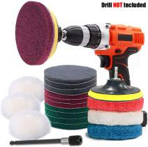 GOH DODD Power Scrub Pads Drill Attachment, 20 Pieces 4 Inch Cleaning Kit Scouring Pads with Baker and Universal Shaft Great for Kitchen, Bathroom, Auto, Grout, Carpet, Shower, Tub, Grill,Tile