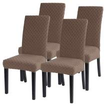 SearchI Dining Room Chair Covers Slipcovers Set of 4, Spandex Fabric Fit Stretch Removable Washable Short Parsons Kitchen Chair Covers Protector for Dining Room, Hotel, Ceremony