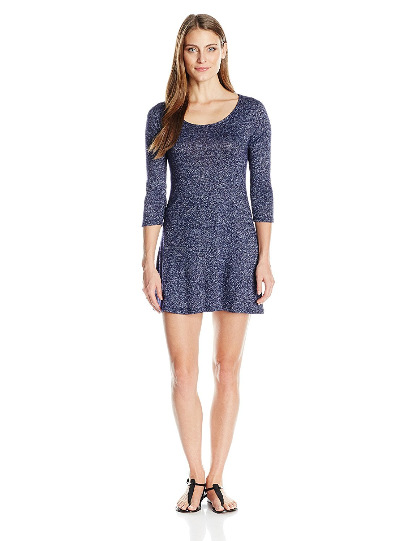 Women's Summer Casual Scoop Neck 3/4 Sleeve Tunic Top Tee T Shirt Flowy Dress