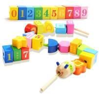 TOP BRIGHT Wooden Lacing Beads Toys for Toddlers 2 Year Old Girl and Boy Gifts Preschool Toys 18 Month Old