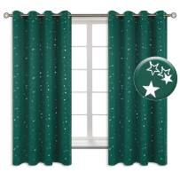 BGment Kids Blackout Curtains for Bedroom - Grommet Thermal Insulated Silver Star Print Room Darkening Curtains for Living Room, Set of 2 Panels (52 x 63 Inch, Emerald)