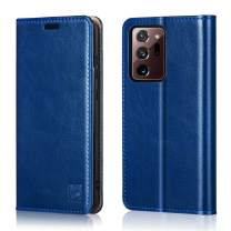 """Belemay Wallet Case for Samsung Galaxy Note 20 Ultra 5G, [Cowhide Leather] Flip Folio Cover [RFID Blocking] Card Holder Book Folding Case with Kickstand Slim Fit for Galaxy Note 20 Ultra 5G 6.9"""" Blue"""