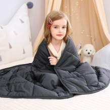 "WUCHT Weighted Blanket for Kids (36""x48"", 5 lbs) for Individual Between 30-70 lbs, Grey Cotton Heavy Blanket Filled with Glass Beads"