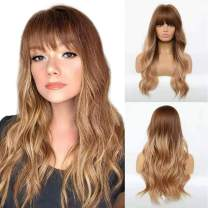 CAUGHTOO Blonde Wig With Bangs Long Wavy Wigs for Women Ombre Golden Blonde Wig With Bangs Synthetic Wigs Long Natural Wave Heat Resistant Hair Wigs for Daily Party Cosplay (Ombre Golden Blonde)